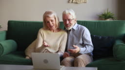 Happy old couple laughing talking making videocall looking at laptop
