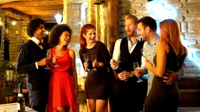 happy people celebrating new year - formalwear stock videos & royalty-free footage