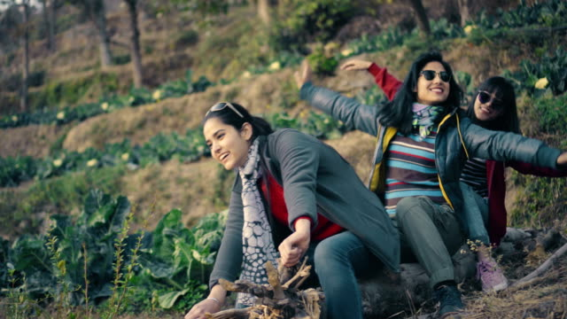happy playful urban young women having fun in a cauliflower farm - mountain pose stock videos and b-roll footage