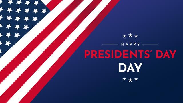 vídeos de stock, filmes e b-roll de animação feliz do dia dos presidentes com bandeira dos eua - usa