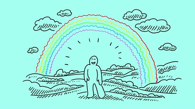 vídeos de stock e filmes b-roll de happy rainbow man - acabamento mate