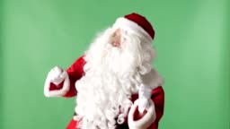 Happy Santa Claus Dancing green chromakey in the background