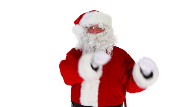 happy santa dancing away - father christmas stock videos and b-roll footage