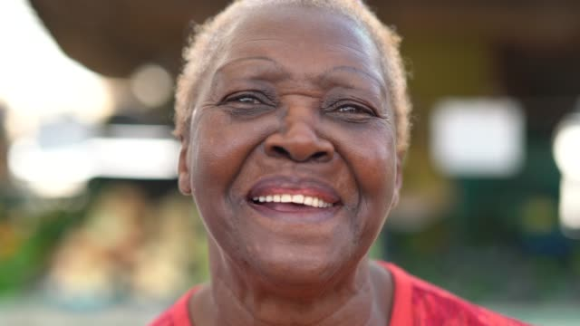 happy senior african ethnicity woman portrait - gratitude stock videos & royalty-free footage