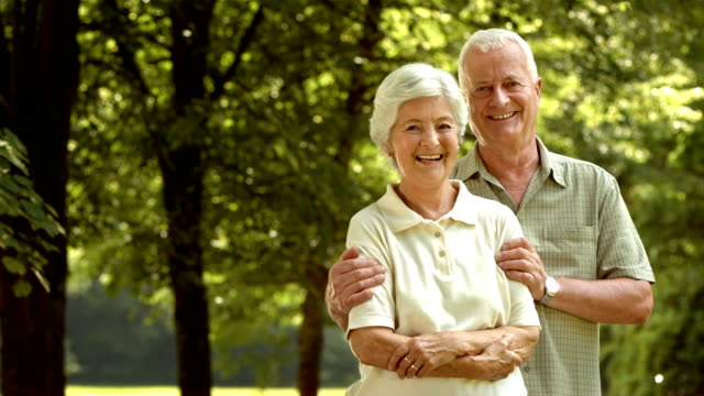 HD DOLLY: Happy Senior Couple In Embrace