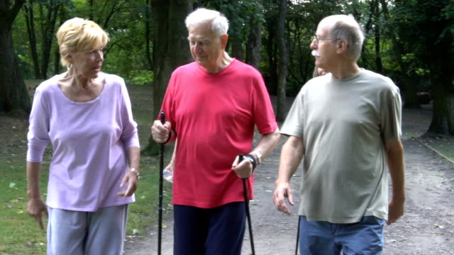 happy senior friends holding hiking poles while walking in park - racewalking stock videos and b-roll footage