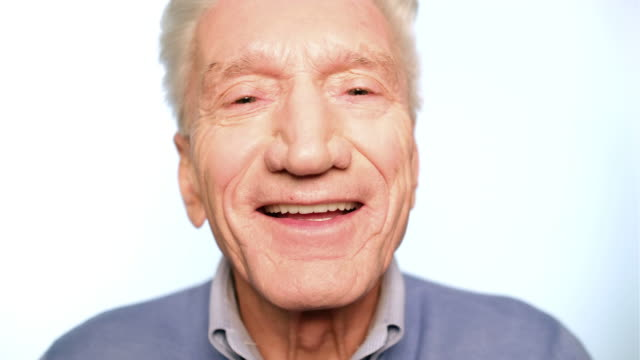 happy senior man looking excited - mature men stock videos & royalty-free footage