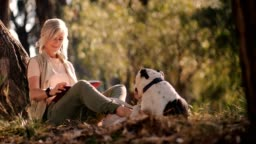 Happy senior woman with pet dog reading book in park