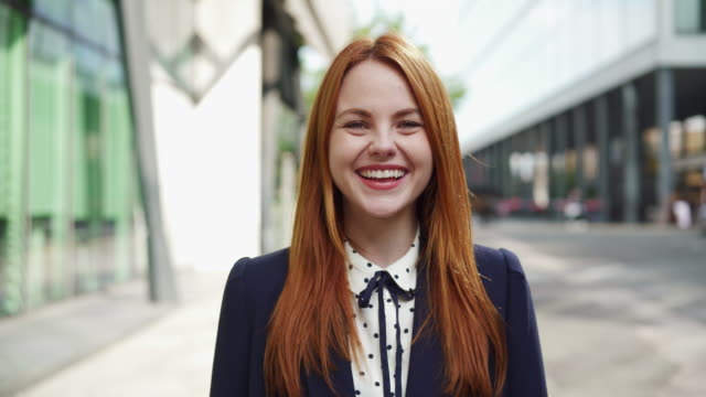happy, smiling, laughing  woman looking at camera - redhead stock videos & royalty-free footage