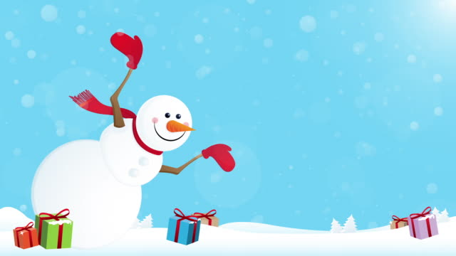 happy snowman with giftboxes - illustration stock videos & royalty-free footage