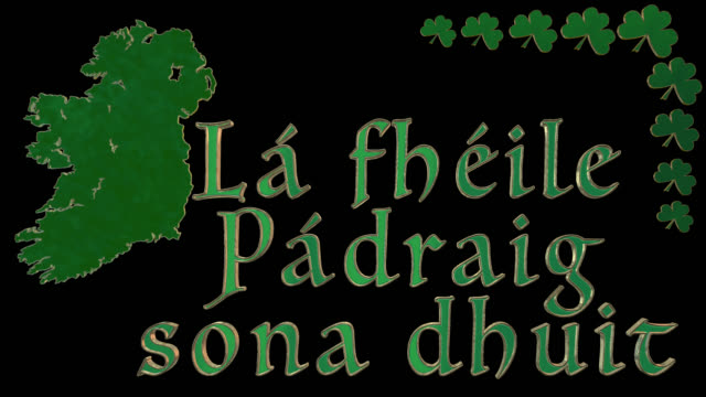 Happy St Patricks Day greeting to one person in Gaelic