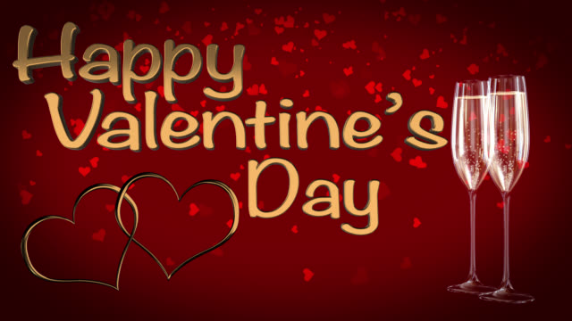 happy st valentine's day with two linked hearts seamless loop - adobe after effects stock videos and b-roll footage