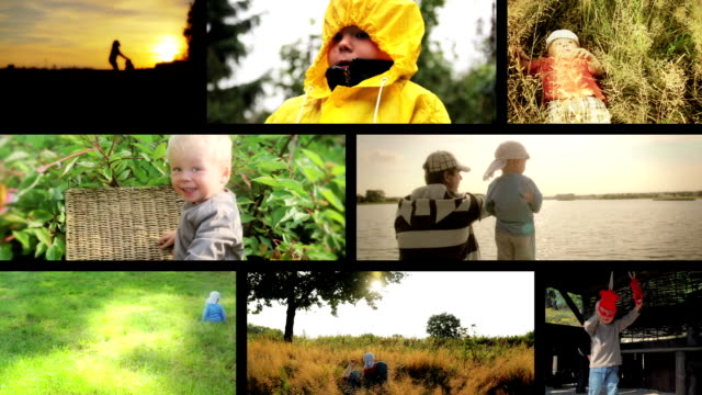 happy summer family montage - montage stock videos & royalty-free footage
