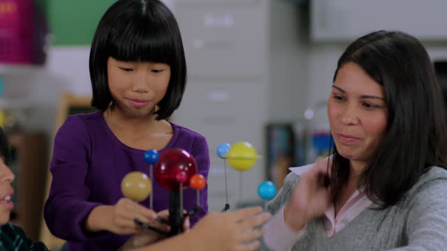Teacher assists students with solar system model
