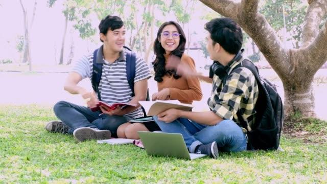 幸せな十代男の子および女の子屋外の読書。十代のガール フレンドと楽しんで笑って。 - 記事点の映像素材/bロール