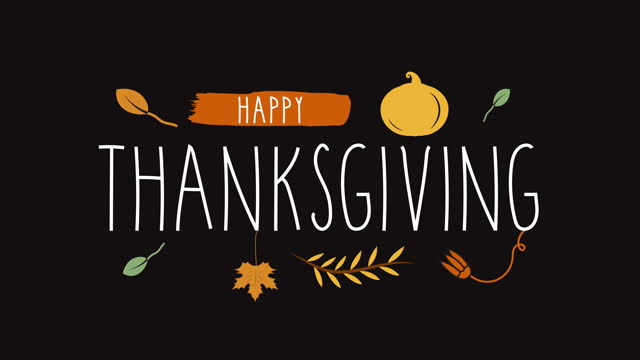 happy thanksgiving animated handwritten text. - thanksgiving stock videos & royalty-free footage