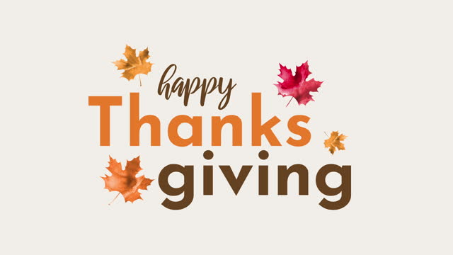 happy thanksgiving animation with watercolor leaves - thanksgiving holiday stock videos & royalty-free footage
