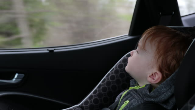 happy toddler boy secure in car seat on road trip - redhead stock videos & royalty-free footage