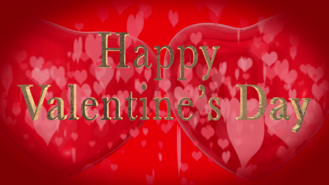 Happy Valentine's Day phrase, in English with two beating 3D red hearts and moving heart shaped particles are in the red background