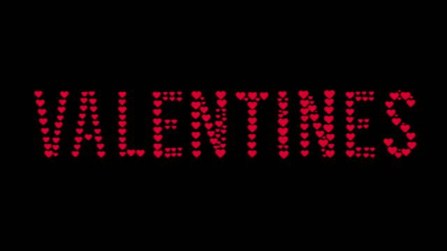 創造的な愛の心のコラージュ、4kのストックビデオとハッピーバレンタインデーのテキスト - 美術工芸品点の映像素材/bロール