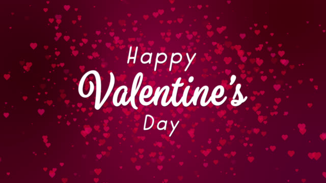 happy valentine's day white text abstract purple backgrounds with red hearts - valentines background stock videos & royalty-free footage