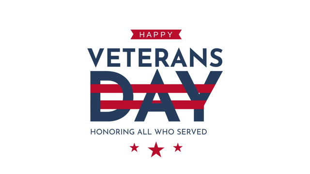 happy veterans day. animated greeting card. - veterans day stock videos & royalty-free footage