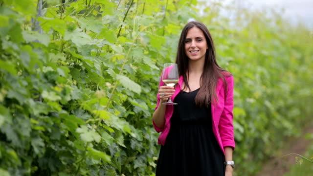 Happy Woman in a Vineyard