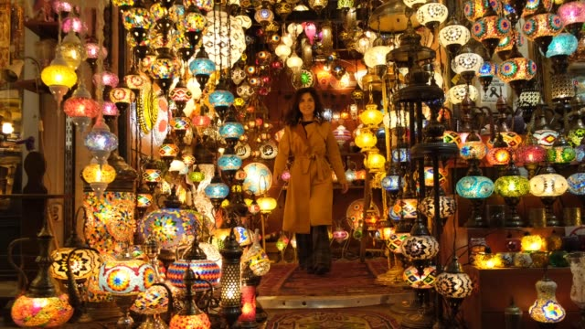happy woman in the grand bazaar - istanbul province stock videos & royalty-free footage