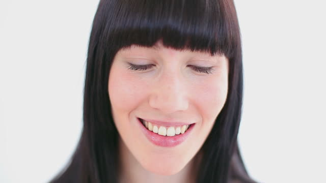 happy woman using a cotton wool - bangs stock videos and b-roll footage
