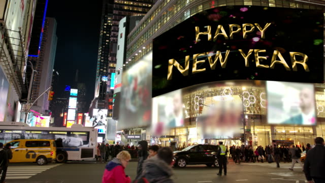 Happy Year Commercial sign New York Times Square people billboards
