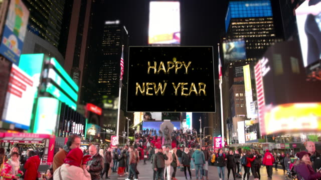 happy year new york commercial sign times square people billboards - manhattan theater district stock videos and b-roll footage