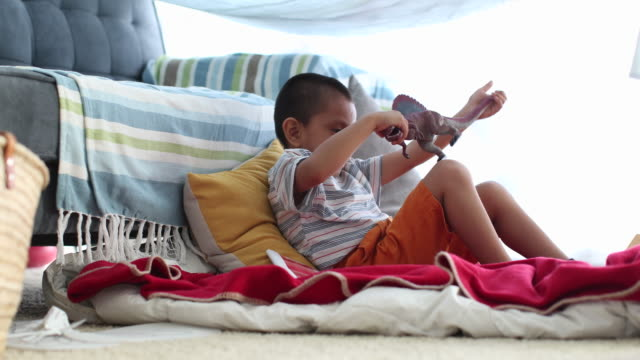 vídeos de stock, filmes e b-roll de happy young boy in home made tent playing with toy dinosaur. - barraca