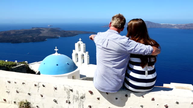 hd: happy young couple on santorini island, greece - tourist stock videos & royalty-free footage