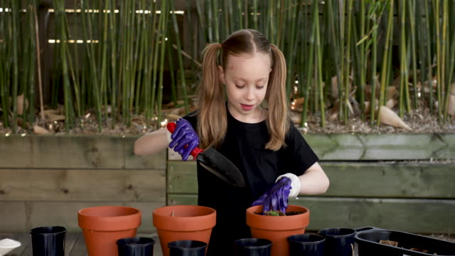 happy young girl gardening - garden fork stock videos & royalty-free footage