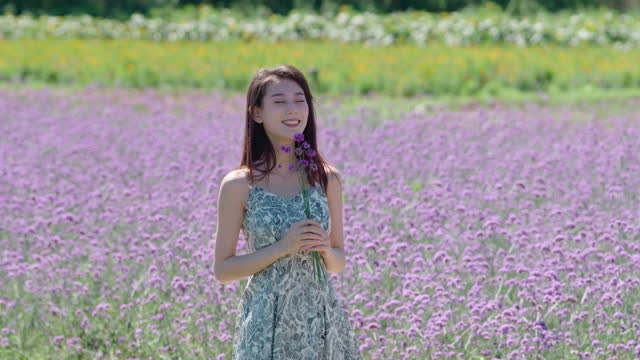vídeos de stock e filmes b-roll de happy young woman in flower field,4k - braço humano
