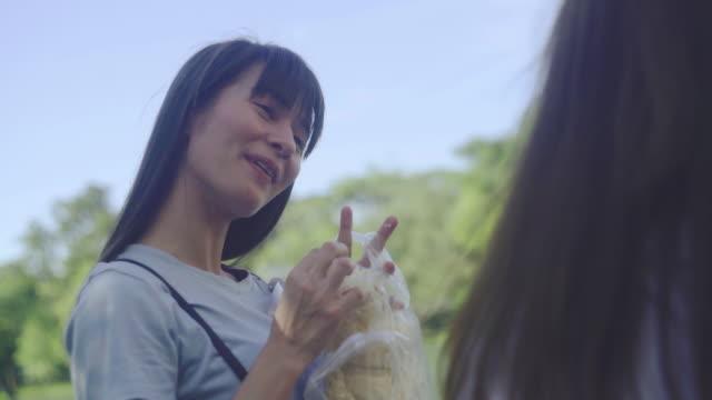 vidéos et rushes de les jeunes femmes de l'happy aiment nourrir le stock de poissons vidéo - pain