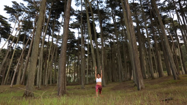 a happy young women practicing yoga outdoors on a sunny day near a body of water. - auf einem bein stock-videos und b-roll-filmmaterial