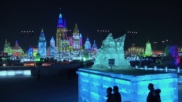 WS Harbin Ice and Snow Sculpture Festival with colorful lights / Harbin, Heilongjiang, China