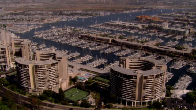AERIAL harbor and marina, Marina del Rey, California, USA