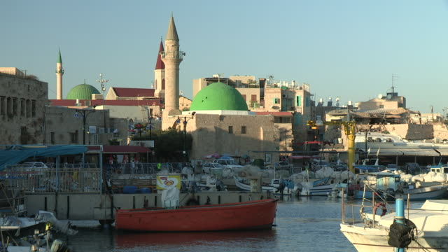 harbor and mosque, akko, israel - akko stock videos and b-roll footage