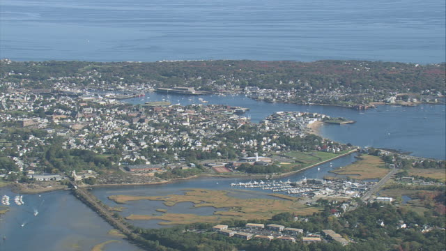 aerial harbor and the outlying neighborhood / gloucester, massachusetts, united states - gloucester massachusetts stock videos & royalty-free footage
