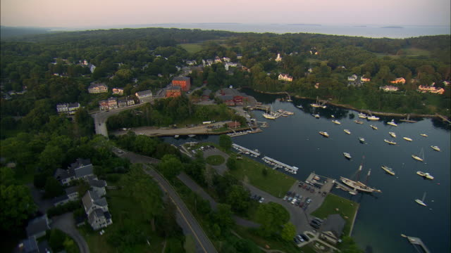 aerial, harbor and town at sunset, rockport, maine, usa - rockport maine stock videos & royalty-free footage