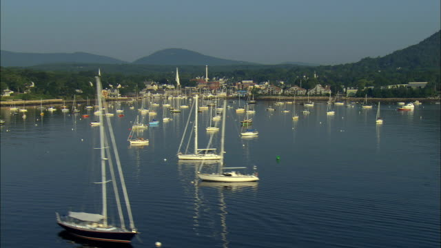 LOW AERIAL, Harbor and town, Camden, Maine, USA