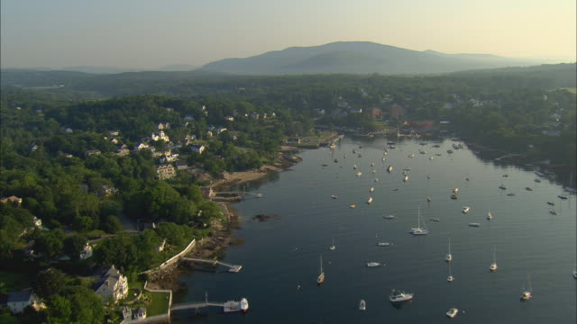aerial, harbor and town, rockalnd, maine, usa - rockport maine stock videos & royalty-free footage