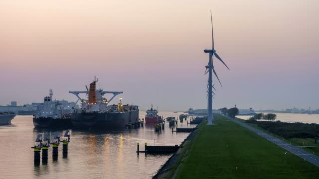 harbor and wind turbines - alternative energy stock videos and b-roll footage
