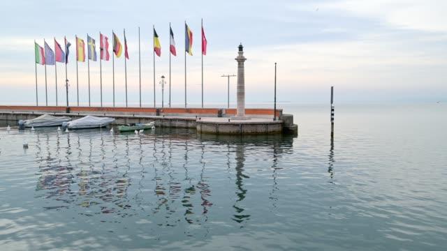 harbor entrance with boats, garda, lake garda, lago di garda, veneto, italy - lago stock videos & royalty-free footage