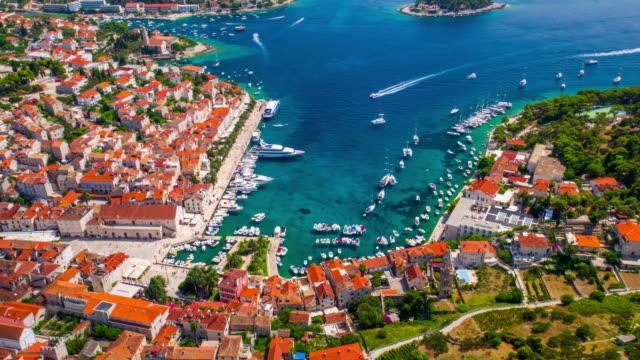 AERIAL: Harbor of old Adriatic island town Hvar