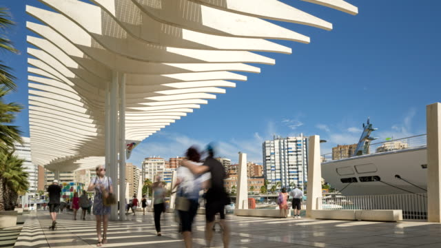 harbor promenade in malaga - promenade stock videos & royalty-free footage