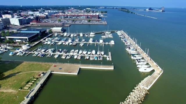 harbor shoreline in sandusky ohio - ohio stock videos and b-roll footage