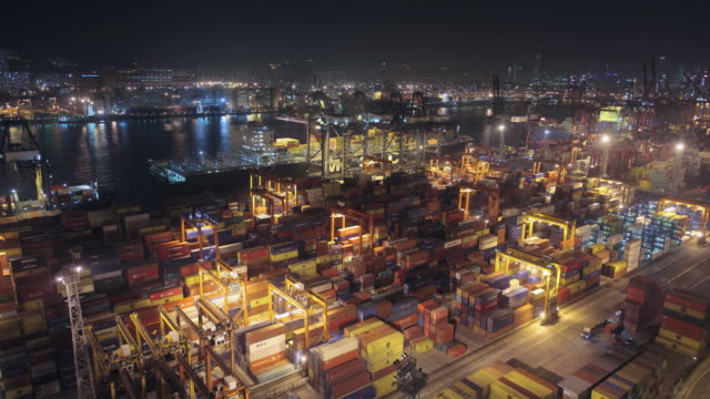 T/L WS HA Harbor with cargo containers / Hong Kong, China
